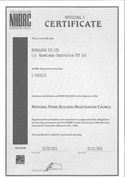 NHBRC Certificate